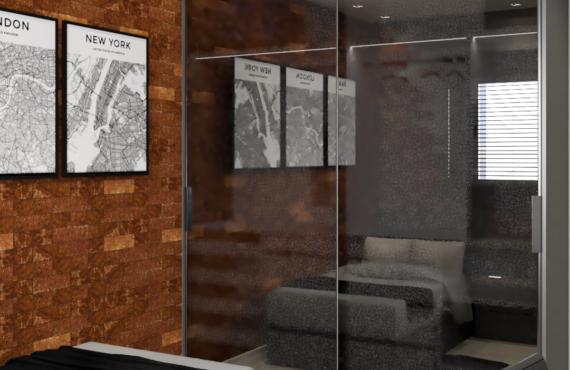 Granulado em Vidro reflecta e Interior do armário